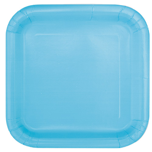 Powder Blue Square Paper Plates 22cm - Pack of 14 Product Image