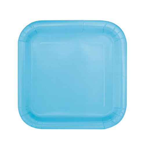 Powder Blue Square Paper Plates 17cm - Pack of 16 Product Image