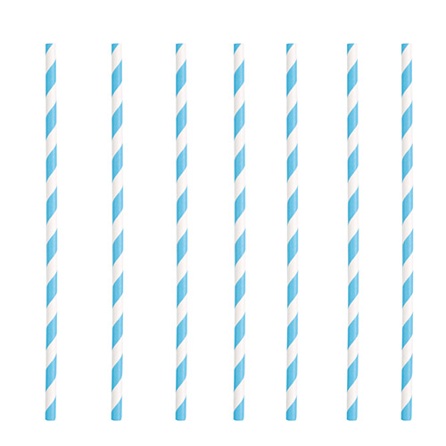 Powder Blue Striped Eco-Friendly Paper Straws - Pack of 10 Product Image