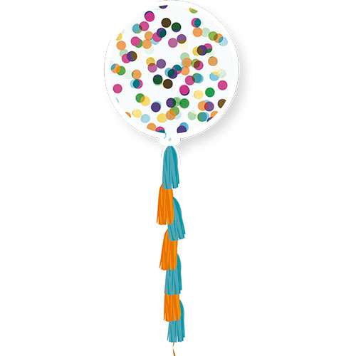 Pre-Loaded Multi-Coloured Circle Confetti Clear Jumbo Latex Balloon With Tassels 91cm / 36Inch Product Image
