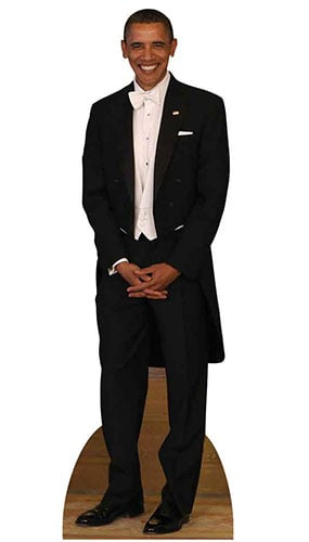 President Obama White Bow Tie Lifesize Cardboard Cutout - 188 cm Product Image