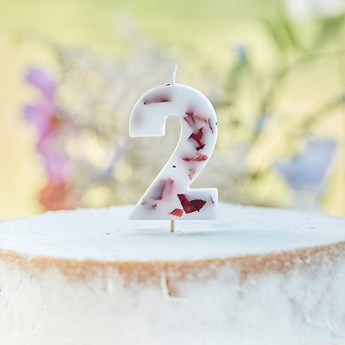 Pressed Petal Number 2 Shaped Candle Product Image