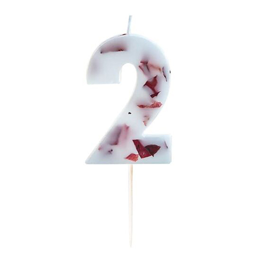 Pressed Petal Number 2 Shaped Candle Product Gallery Image