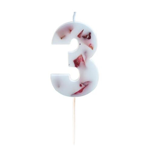 Pressed Petal Number 3 Shaped Candle Product Gallery Image