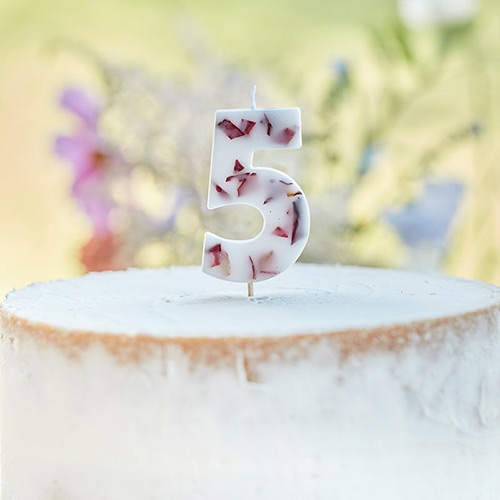 Pressed Petal Number 5 Shaped Candle