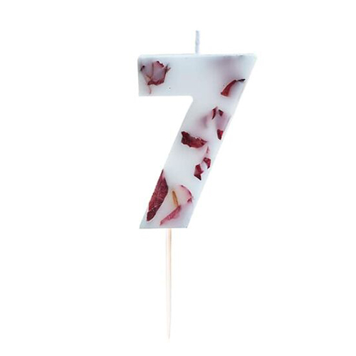Pressed Petal Number 7 Shaped Candle Product Gallery Image