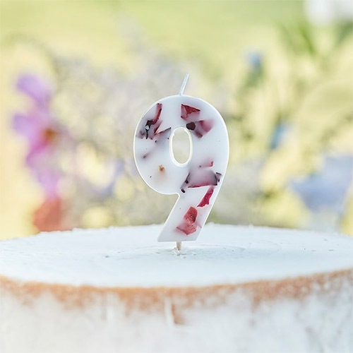 Pressed Petal Number 9 Shaped Candle Product Image