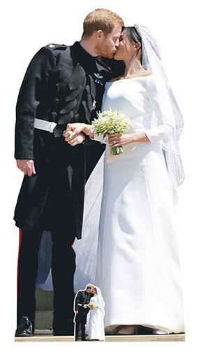 Prince Harry And Meghan Royal Wedding Couple First Kiss Lifesize Cardboard Cutout 184cm