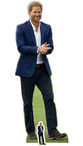 Prince Harry Blue Suit and Beard Lifesize Cardboard Cutout 188cm