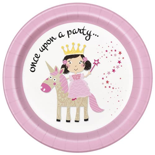Princess and Unicorn Round Paper Plates 22cm - Pack of 8