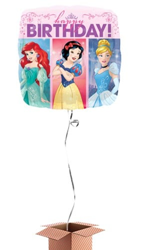 Princess Designs Happy Birthday Square Foil Balloon - Inflated Balloon in a Box