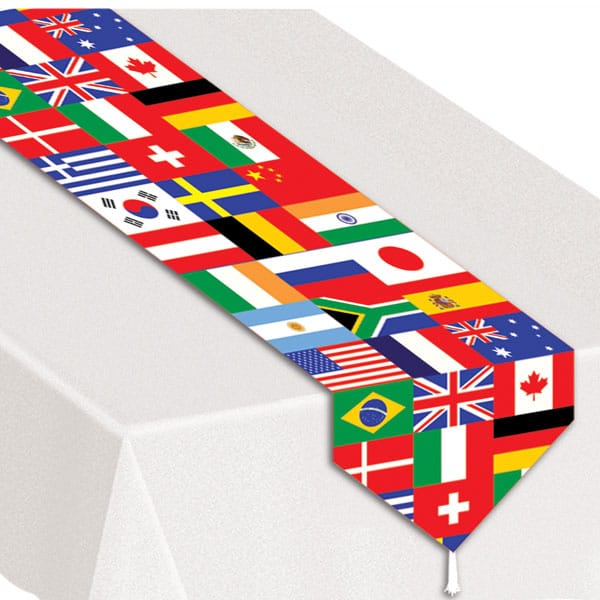 Printed International Flag Table Runner - 28cm x 183cm
