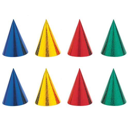 Prismatic Cone Hats Assorted Colours - Pack of 8