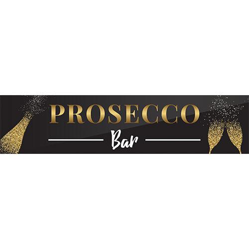 Prosecco Bar Golden Sparkling PVC Party Sign Decoration 110cm x 26cm