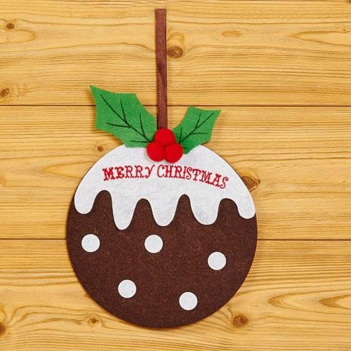 Christmas Pudding Felt Hanging Decoration 20cm Product Image