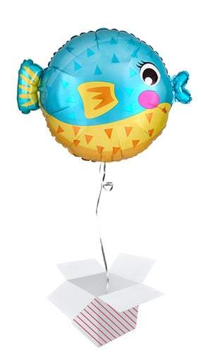 Puffer Fish Shaped Foil Helium Balloon - Inflated Balloon in a Box Product Image