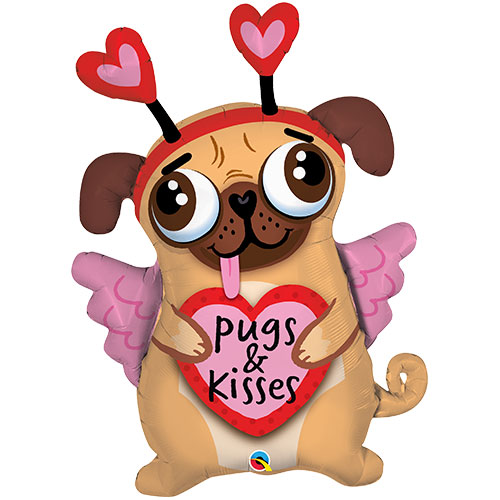 Pugs And Kisses Helium Foil Giant Qualatex Balloon 91cm / 36 in Product Image
