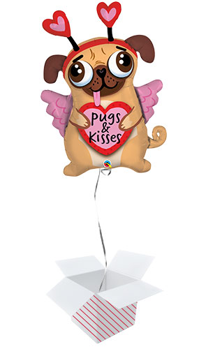 Pugs And Kisses Helium Foil Giant Qualatex Balloon - Inflated Balloon in a Box Product Image