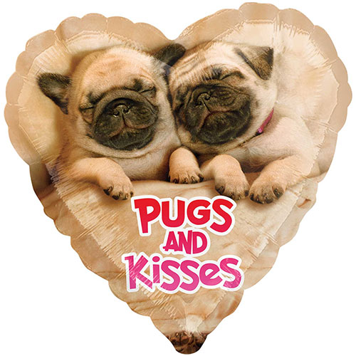 Pugs And Kisses Valentines Day Foil Helium Balloon 43cm / 17Inch