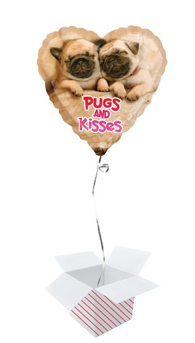 Pugs And Kisses Valentines Day Foil Helium Balloon - Inflated Balloon in a Box Product Image