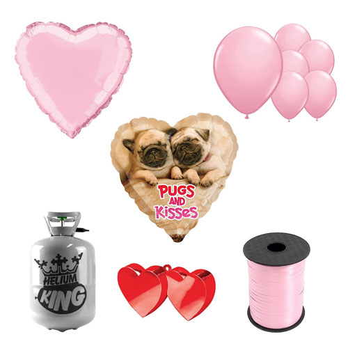 Pugs And Kisses Valentine's Day Small Helium Gas Package With Balloons