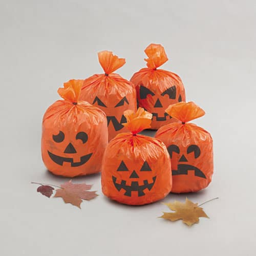 Pumpkin Design Plastic Bags With Twist Ties – Pack of 20 Product Image