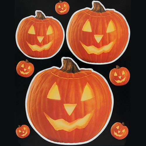 Pumpkin Glow Halloween Window Cling Sheet Decorations Product Image