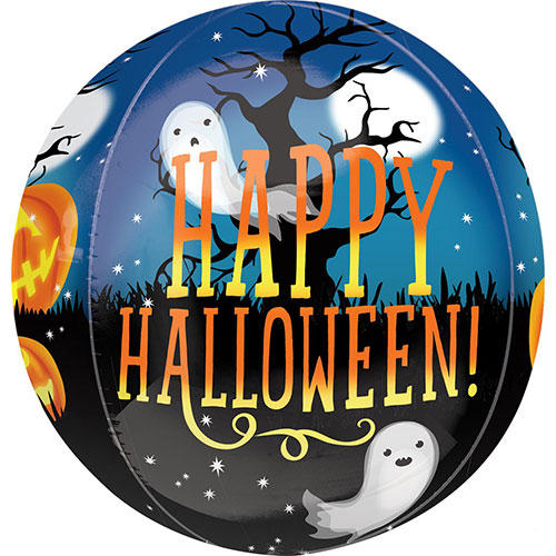 Pumpkins And Ghosts Halloween Orbz Foil Helium Balloon 38cm / 15 in Product Gallery Image
