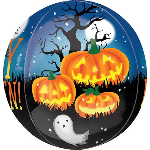 Pumpkins And Ghosts Halloween Orbz Foil Helium Balloon 38cm / 15 in Product Image