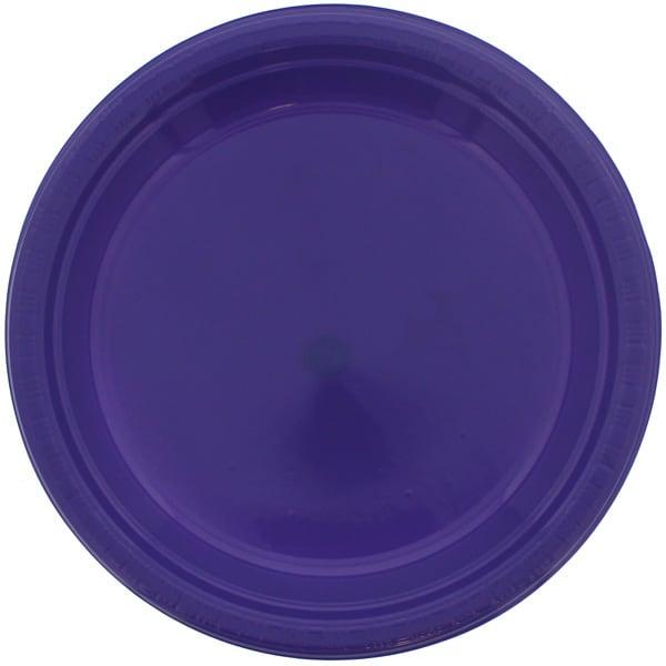 Purple Round Plastic Plates 23cm - Pack of 20