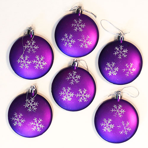 Purple Baubles Hanging Tree Trims Christmas Decorations - Pack of 6