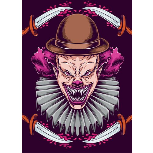 Purple Clown with Knives Halloween A3 Poster PVC Party Sign Decoration 42cm x 30cm Product Gallery Image