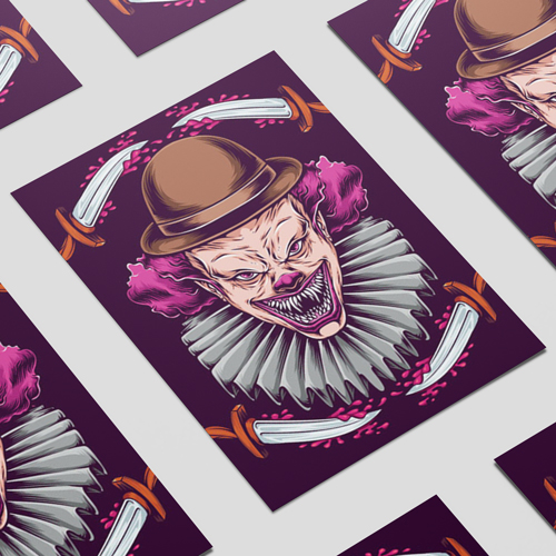 Purple Clown with Knives Halloween A3 Poster PVC Party Sign Decoration 42cm x 30cm Product Image