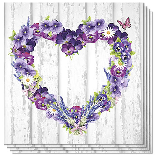 Purple Flower Heart Luncheon Napkins 3Ply 33cm - Pack of 20 Product Image