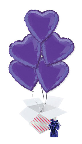 Purple Heart Foil Helium Balloon Bouquet - 5 Inflated Balloons In A Box Product Image