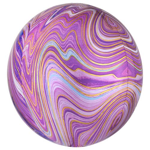 Purple Marblez Orbz Foil Helium Balloon 38cm / 15 in Product Image