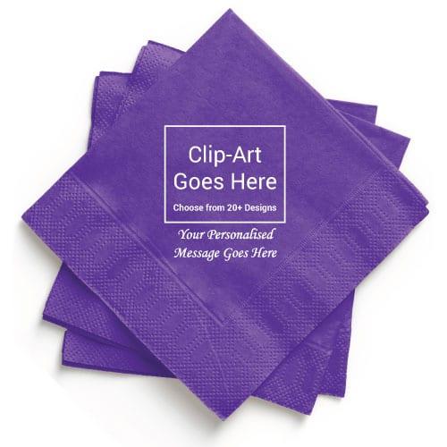 Purple Personalised Napkin - Pack of 50