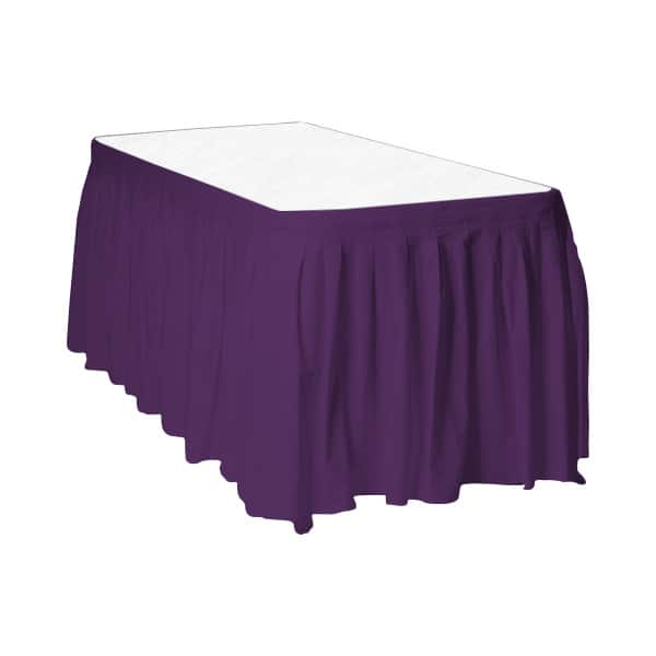 Purple Plastic Table Skirt - 426cm x 74cm