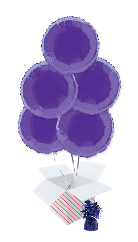 Purple Round Foil Helium Balloon Bouquet - 5 Inflated Balloons In A Box Product Image