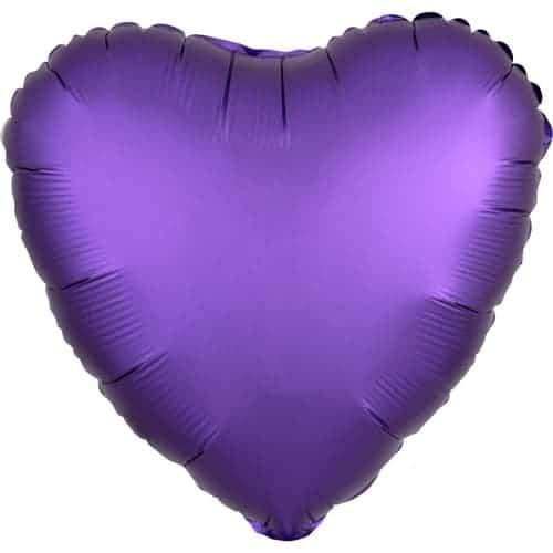 Purple Royale Satin Luxe Heart Foil Helium Balloon 43cm / 17Inch