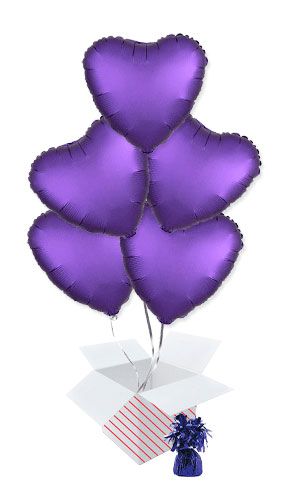 Purple Royale Satin Luxe Heart Foil Helium Balloon Bouquet - 5 Inflated Balloons In A Box Product Image