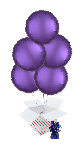 Purple Royale Satin Luxe Round Foil Helium Balloon Bouquet - 5 Inflated Balloons In A Box Product Image