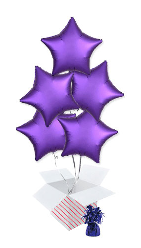 Purple Royale Satin Luxe Star Foil Helium Balloon Bouquet - 5 Inflated Balloons In A Box Product Image