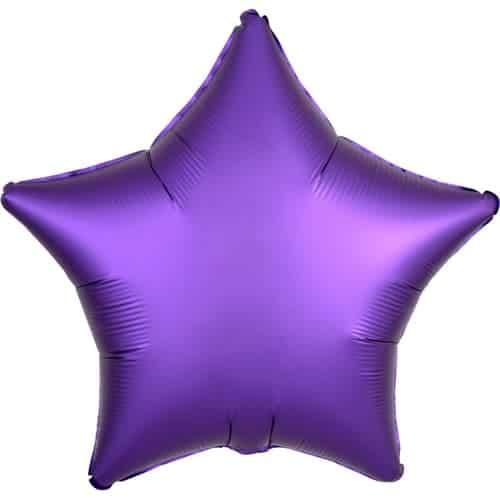 Purple Royale Satin Luxe Star Foil Helium Balloon 48cm / 19Inch