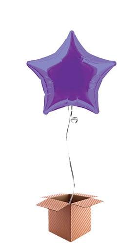 Purple Star Shape Foil Balloon - Inflated Balloon in a Box