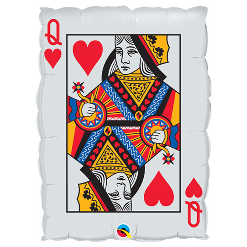 Queen Of Hearts And Ace Of Spades Casino Helium Foil Giant Qualatex Balloon 76cm / 30  in Product Image