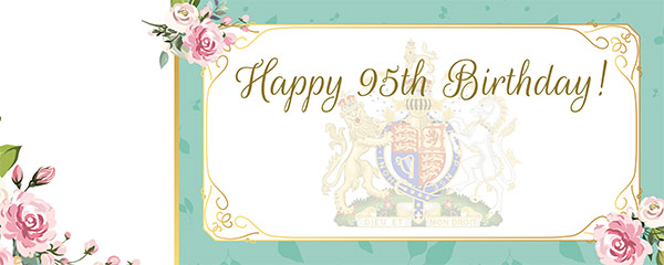 Queen's 95th Birthday Blue Design Medium Personalised Banner – 6ft x 2.25ft