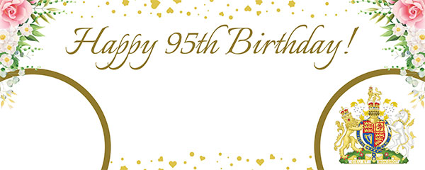 Queen's 95th Birthday Gold Design Medium Personalised Banner – 6ft x 2.25ft