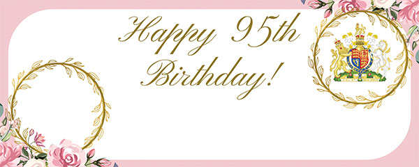 Queen's 95th Birthday Pink Design Medium Personalised Banner – 6ft x 2.25ft