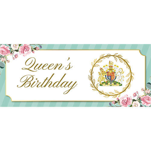 Queen's Birthday Mint Green PVC Party Sign Decoration 60cm x 25cm Product Image